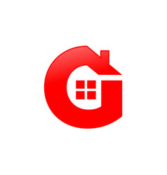 letter g house shape icon symbol design vector image