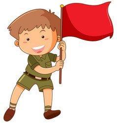 little boy with red flag vector image