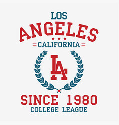 Los angeles college typography for t-shirt vector