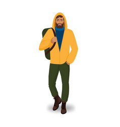 male tourist in yellow jacket with backpack vector image