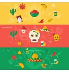 Mexico flat banner set vector