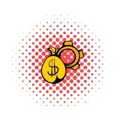 Money bag icon comics style vector image