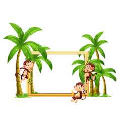 Monkey on wooden frame vector