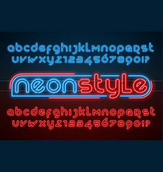 Neon light alphabet extra glowing modern type vector