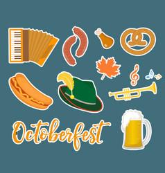 oktoberfest sticker flat or cartoon style vector image