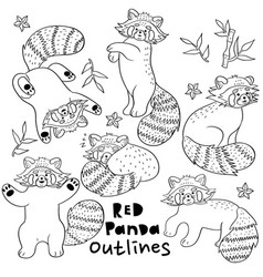 outlines cute red pandas on a white background vector image