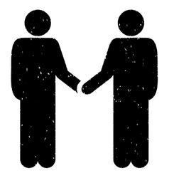 Persons Handshake Grainy Texture Icon vector image