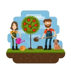 Planting of the tree orchard farmer farm Flat vector
