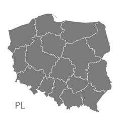 Poland map with regions grey vector