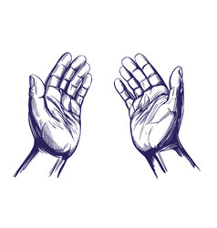 Praying hands symbol of christianity hand drawn vector