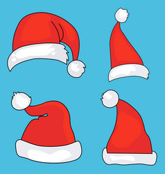 santa hats cartoon christmas costume vector image