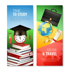 School vertical banners vector