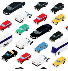 seamless pattern background isometric cars urban vector image