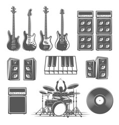 Set musical instruments isolated on a white vector