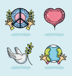 set national peace and love day vector image