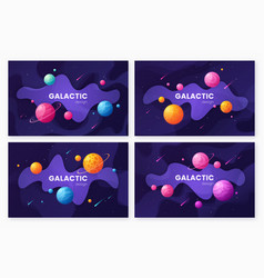 set of cartoon galaxy futuristic outer space vector image