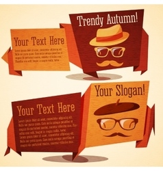 Set of cute autumn vintage stylized banners - vector