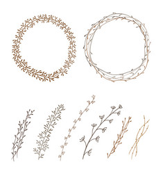 Set of decorative doodle wreaths made of branches vector