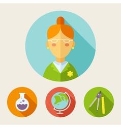Set of flat style icons Teacher bulb globe divider vector