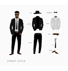 Set strict style menswear vector