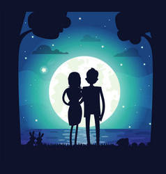 silhouette man and woman vector image