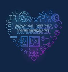 Social media influencer heart colorful line vector