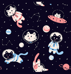 space animals pattern seamless black background vector image