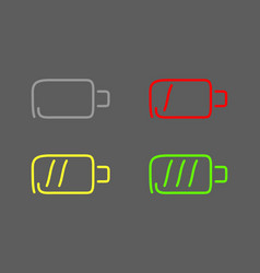 steps charging battery set icons draw effect vector image