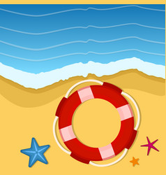 summer background with starfish and lifebuoy vector image