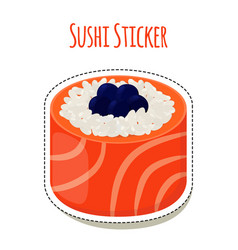 Sushi sticker asian food with caviarrice - label vector