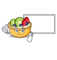 thumbs up with board fruit tart character cartoon vector image