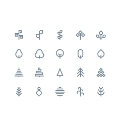 Tree icons Line series vector