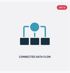 two color connected data flow chart icon from vector image