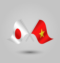 Two crossed japanese and vietnamese flags vector