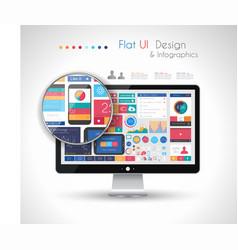 UI Flat Design Elements in a modern HD screen vector image