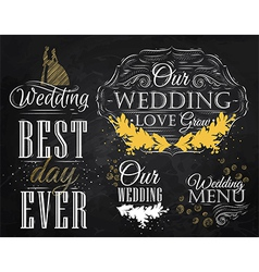 Wedding Set chalk color vector image