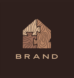 wood house puzzle home dove tail brown logo icon vector image