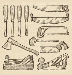woodworking and carpentry tools industrial vector image