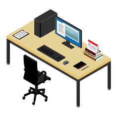 Working place desk and office chair personal vector