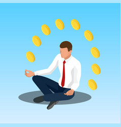young yoga position businessman relaxing vector image