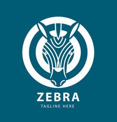 zebra head logo circles design template vector image