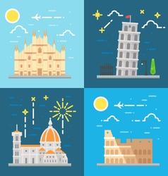 Flat design Italy landmarks set vector image vector image