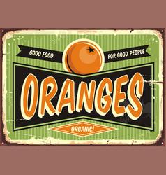 fresh organic oranges vintage sign vector image