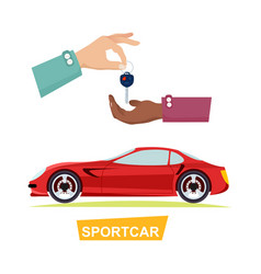 hand passing key process of buying sportbike vector image