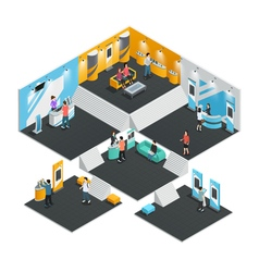 Multistore exhibition stands isometric vector image vector image