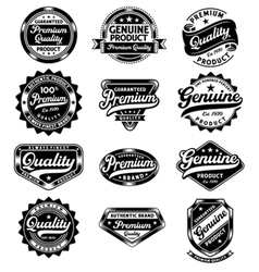 set of premium quality and genuine vintage labels vector image