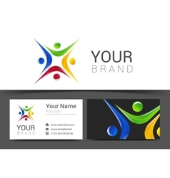 Business card for your business with the logo of vector
