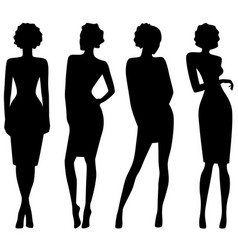 four slim attractive women silhouettes vector image vector image