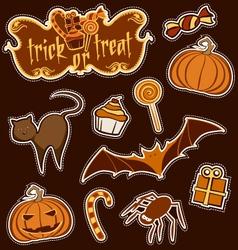 halloween sticker set vector image vector image