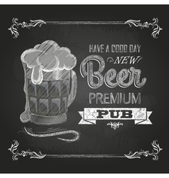 Beer in mag Chalk drawing vector image vector image